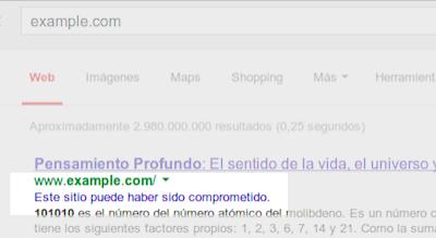 avisos de google sobre p u00e1ginas web infectadas espacio